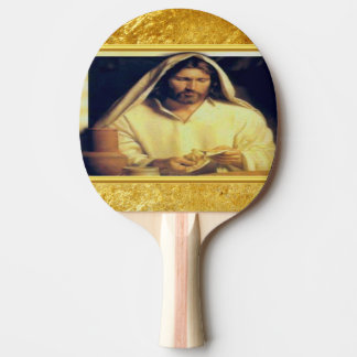 Jesus breaking bread matthew 14-13 Gold texture Ping Pong Paddle