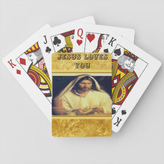 Jesus breaking bread matthew 14-13 Gold texture Playing Cards