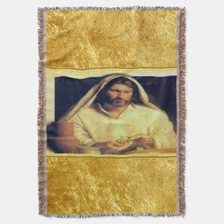 Jesus breaking bread matthew 14-13 Gold texture Throw Blanket
