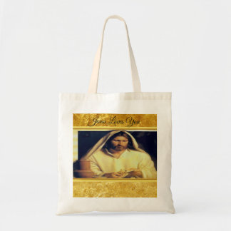 Jesus breaking bread matthew 14-13 Gold texture Tote Bag