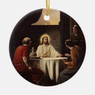 Jesus breaking bread religious painting ornament