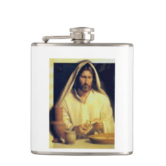 Jesus Breaking Bread Vintage Hip Flask