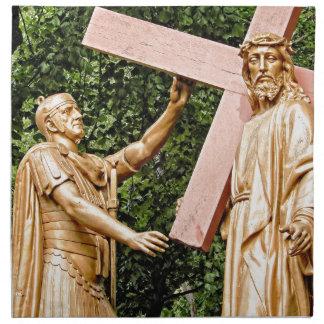 Jesus Carries Cross Napkin