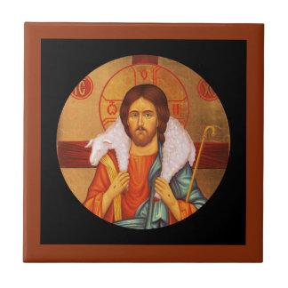 Jesus Carrying Lost Lamb on Shoulders Ceramic Tiles