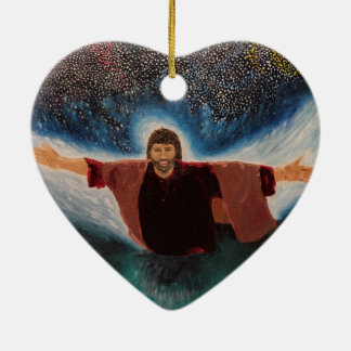 Jesus Ceramic Heart Ornament