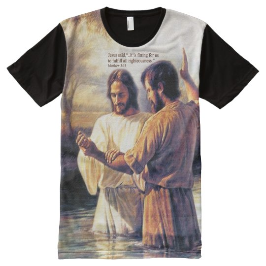 Jesus Christ Baptism Printed Panel T-Shirt
