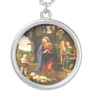 Jesus Christ Birth Silver Plated Necklace