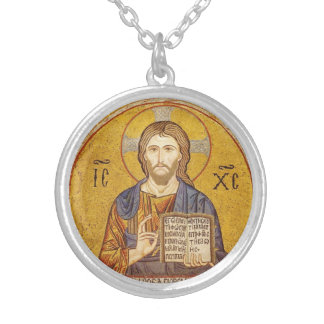 Jesus Christ Byzantine painting Silver Plated Necklace