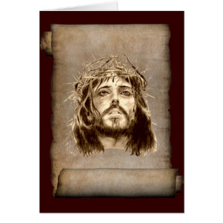 Jesus Christ Crown of Thorns on Scroll Card