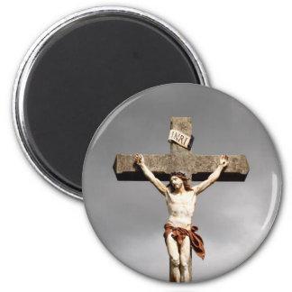 Jesus Christ crucifixion sculpture 2 Inch Round Magnet