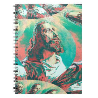 Jesus Christ Fractal Dove Peace Posterized Spiral Notebook