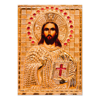 "Jesus christ golden icon 5"" x 7"" invitation card"