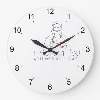 Jesus Christ - I Protect You Large Clock