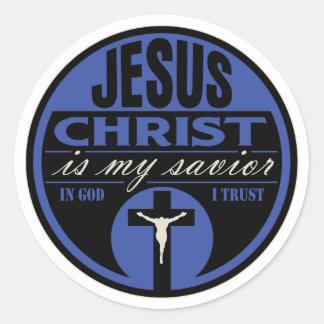 Jesus Christ is My Savior(Blue) Round Sticker