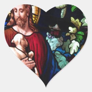 Jesus Christ Lamb Design Glass Art Destiny Heart Sticker