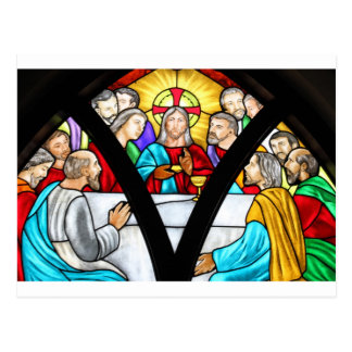 Jesus Christ Last Supper Stained Glass Window Postcard