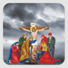 JESUS CHRIST ON THE CROSS SQUARE STICKER