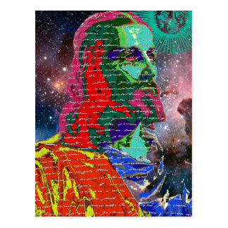 Jesus Christ Outer Space Galaxy Cosmos Stars Sun Postcard