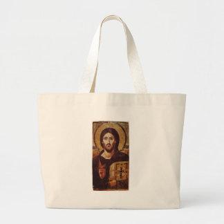 Jesus Christ Pantocrator Christian Icon Large Tote Bag