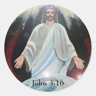 Jesus Christ, The Light of the World Round Sticker