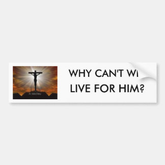 jesus christ, WHY CAN'T WE, LIVE FOR HIM? Bumper Sticker