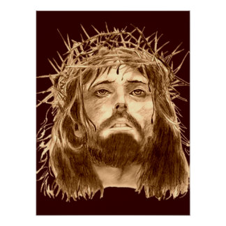 Jesus Christ with a Crown of Thorns Poster