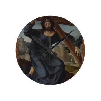 Jesus Christ With Cross Round Clock