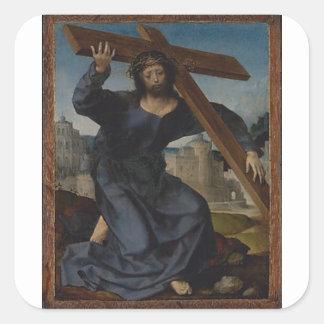 Jesus Christ With Cross Square Sticker