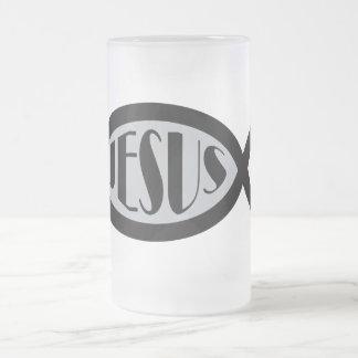 JESUS Christian Fish Symbol 16 Oz Frosted Glass Beer Mug