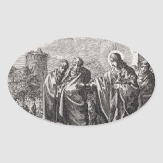 Jesus Confronts 12 Apostles Oval Sticker