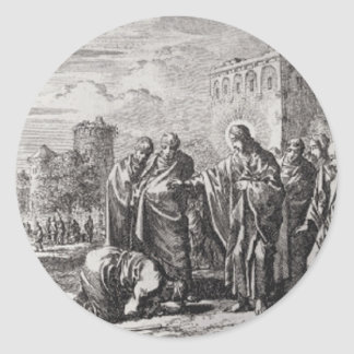 Jesus Confronts 12 Apostles Round Sticker