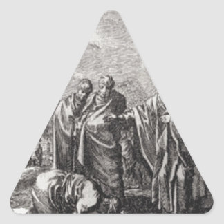 Jesus Confronts 12 Apostles Triangle Sticker