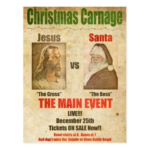 Jésus contre Père Noël Carte Postale