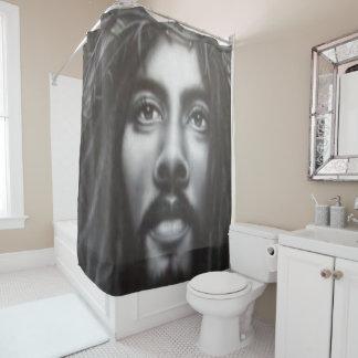 Jesus cross black white showercurtain