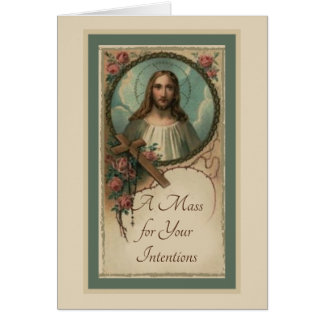 Jesus Cross Rosary Catholic Mass Offering Card