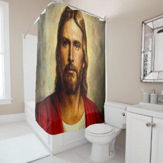 Jesus cross white showercurtain