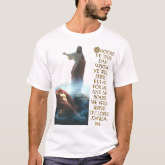 Jesus Defeating Satan and Joshua 24:15 T-Shirt