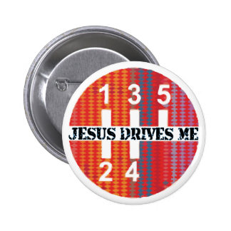 Jesus Drives Me Christian button
