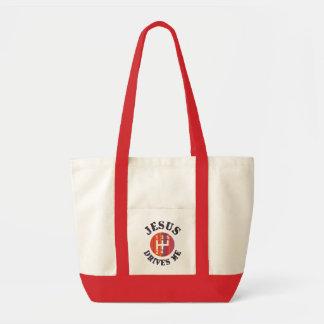 Jesus Drives Me Christian tote bag