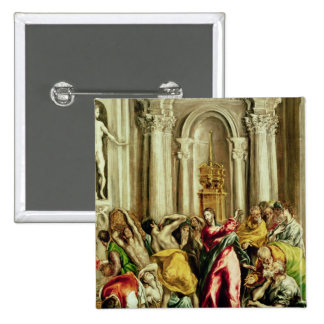 Jesus Driving the Merchants from the Temple 2 Inch Square Button