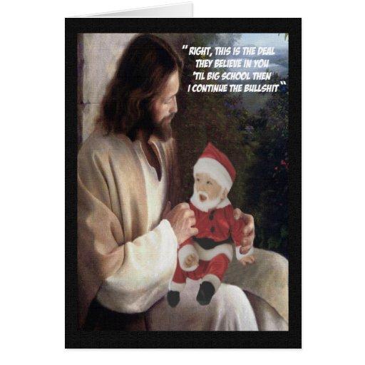Jésus drôle et Père Noël Cartes De Vœux