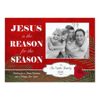Jésus est la carte de Noël de raison avec la photo Carton D'invitation 12,7 Cm X 17,78 Cm