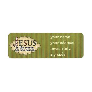 Jésus est l'étiquette de adresse de retour de Noël Étiquette D'adresse Retour