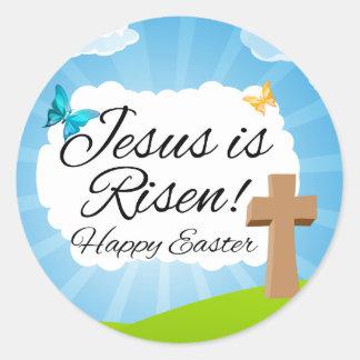 Jésus est levé, Pâques chrétienne Sticker Rond