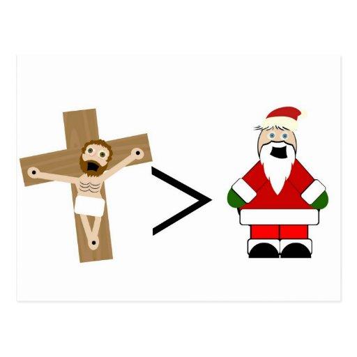 Jésus est plus grand que Père Noël Cartes Postales