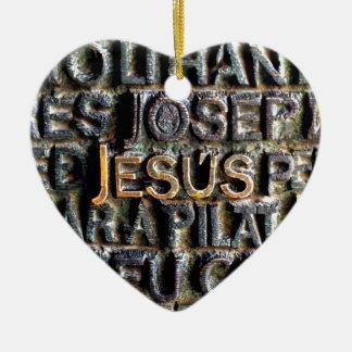 Jesus etched metal ceramic heart ornament