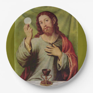 Jesus eucharist paper plate