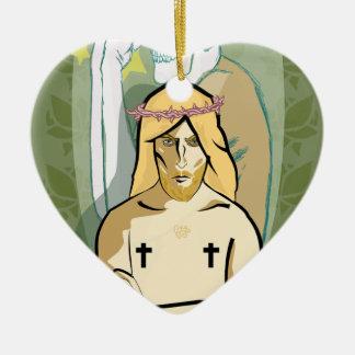Jesus FiGhT Ceramic Heart Ornament