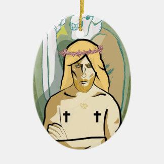 Jesus FiGhT Ceramic Oval Ornament