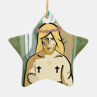 Jesus FiGhT Ceramic Star Ornament